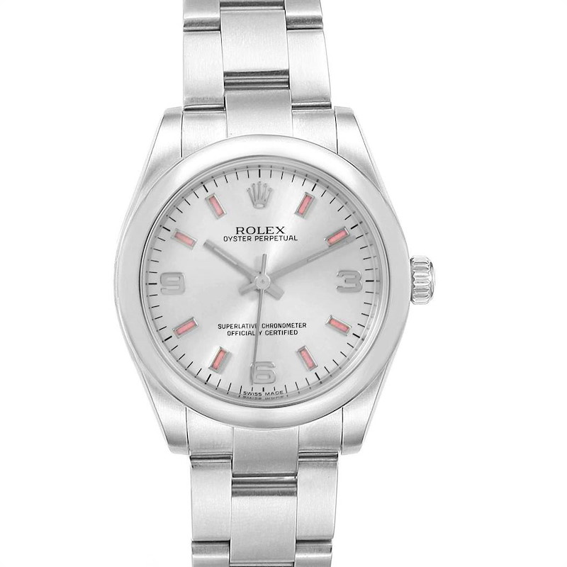 Rolex Midsize Silver Dial Pink Hour Markers Ladies Watch 177200 Box Card SwissWatchExpo