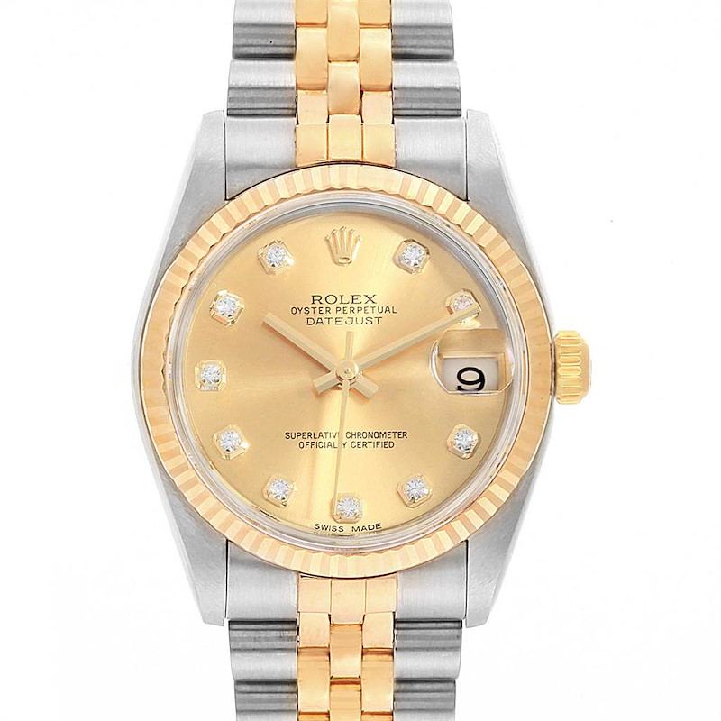 Rolex Datejust Midsize Steel Yellow Gold Diamond Ladies Watch 78273 SwissWatchExpo