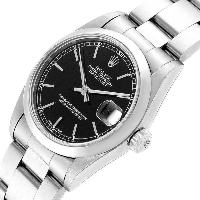 Rolex Datejust 31 Midsize Black Baton Dial Steel Ladies Watch 78240 SwissWatchExpo