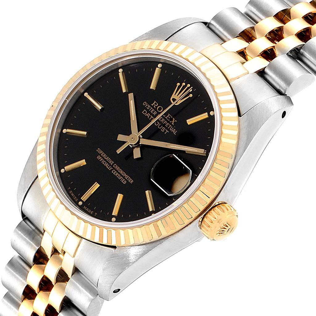 23462 Rolex Datejust Midsize Steel Yellow Gold Black Dial Ladies Watch 68273 SwissWatchExpo