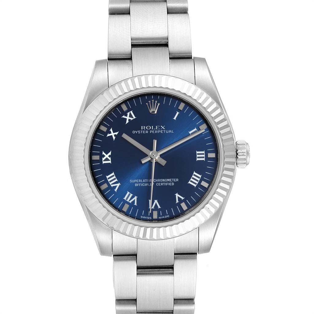 Rolex Oyster Perpetual Midsize Blue Dial Ladies Watch 177234 Box Card SwissWatchExpo