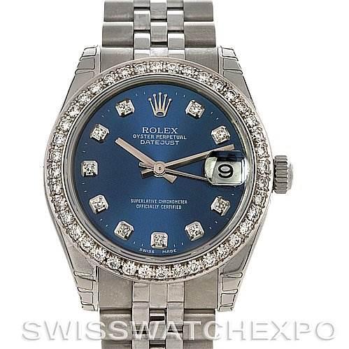2415 Rolex Rolex Midsize Datejust Ss/18k w Gold Diamonds 178240 SwissWatchExpo