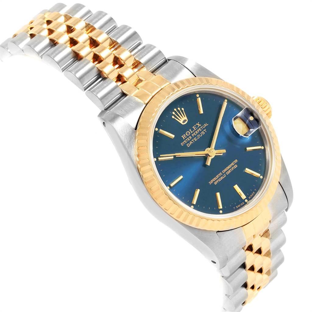 Rolex Datejust Midsize Steel Yellow Gold Blue Dial Ladies Watch 68273 SwissWatchExpo