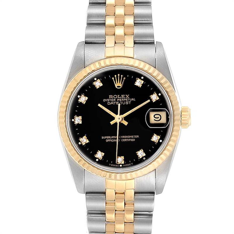 Rolex Datejust Midsize 31 Steel Yellow Gold Diamond Watch 68273 Box Paper SwissWatchExpo