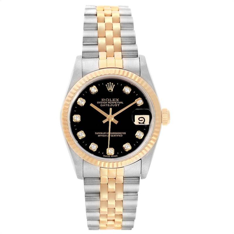 Rolex Datejust Midsize 31 Steel Yellow Gold Diamond Watch 68273 SwissWatchExpo