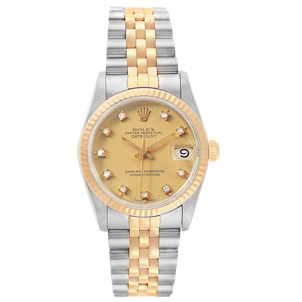 Rolex Datejust Midsize 31mm Steel Yellow Gold Diamond Ladies Watch 68273 SwissWatchExpo