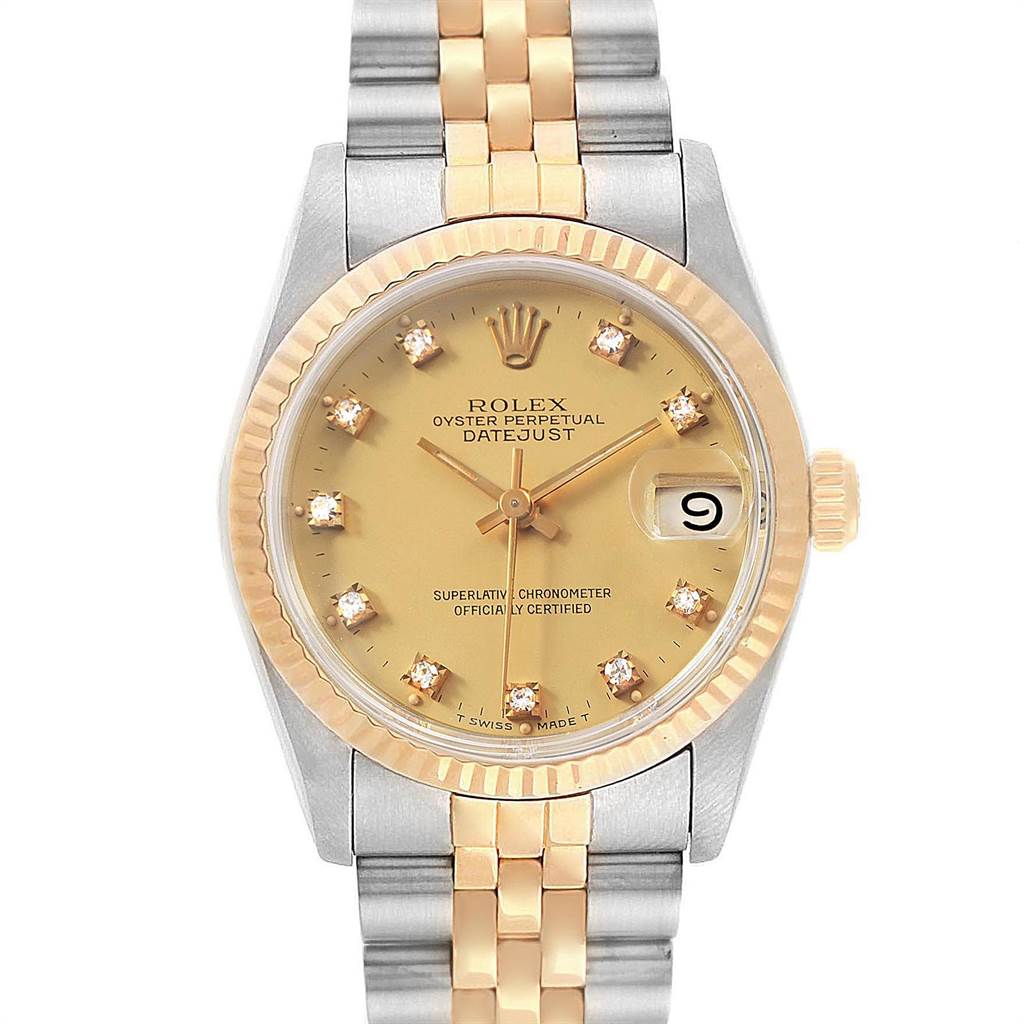 Rolex Datejust Midsize 31mm Steel Yellow Gold Diamond Ladies Watch 68273 SwissWatchExpo