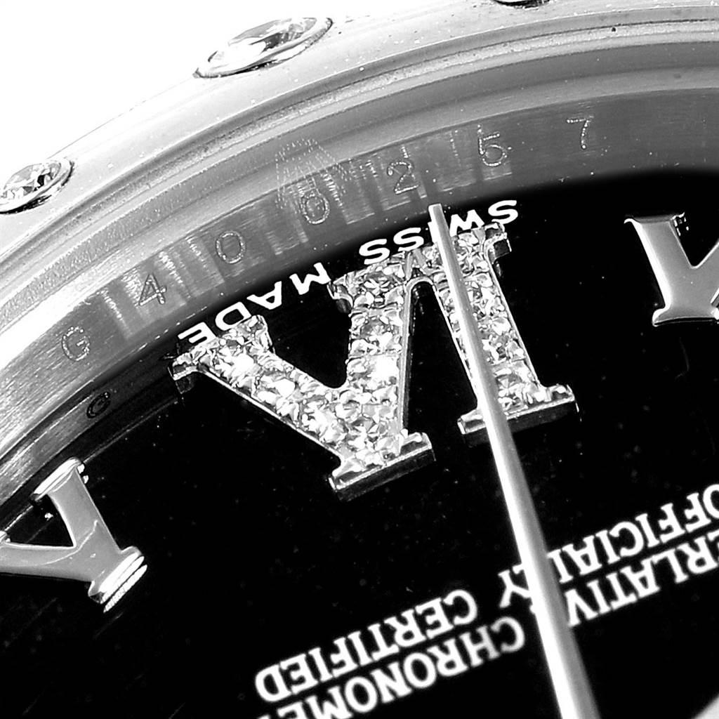 24015 Rolex Datejust 31 Midsize Black Dial Steel Diamond Watch 178344 SwissWatchExpo