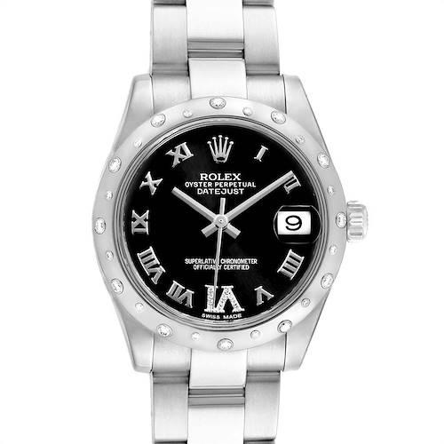 Photo of Rolex Datejust 31 Midsize Black Dial Steel Diamond Watch 178344