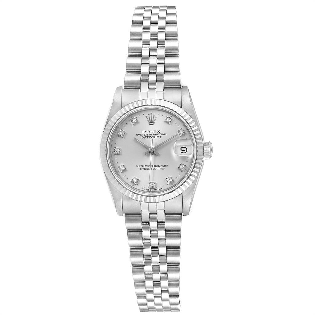 23925 Rolex Datejust Midsize Steel White Gold Diamond Dial Ladies Watch 68274 SwissWatchExpo