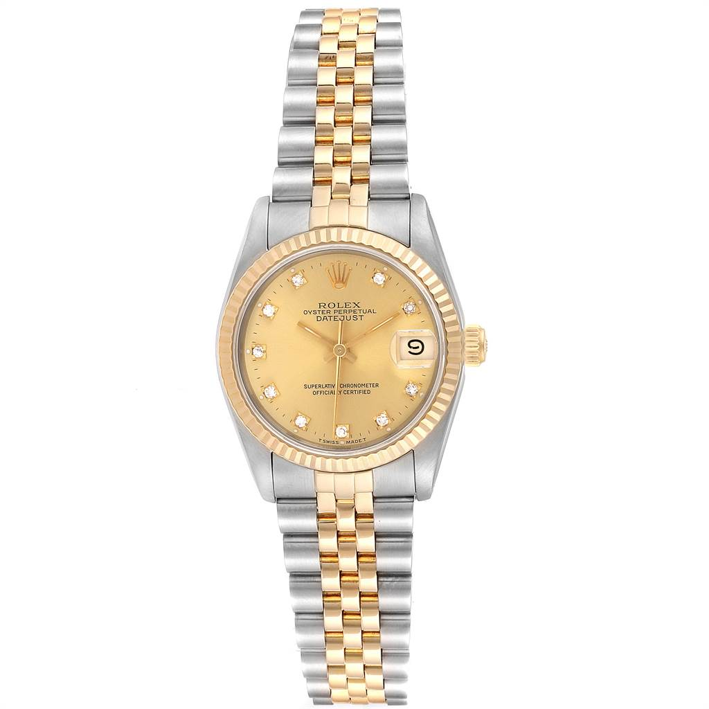 23958 Rolex Datejust Midsize 31 Steel Yellow Gold Diamond Ladies Watch 68273 SwissWatchExpo