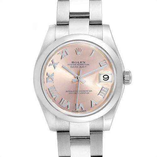 Photo of Rolex Midsize Datejust Rose Dial Steel Ladies Watch 178240 Box Card