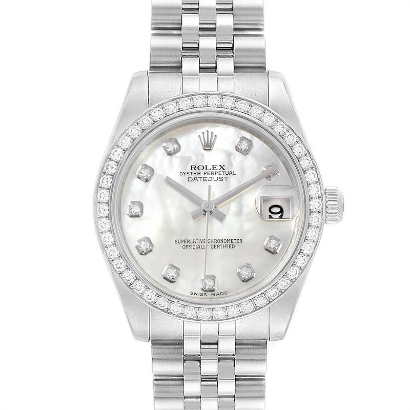 Rolex Datejust Midsize Steel White Gold MOP Diamond Ladies Watch 178384 SwissWatchExpo