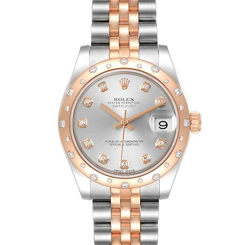 Rolex Datejust 31 Midsize Steel Everose Gold Diamond Ladies Watch 178341