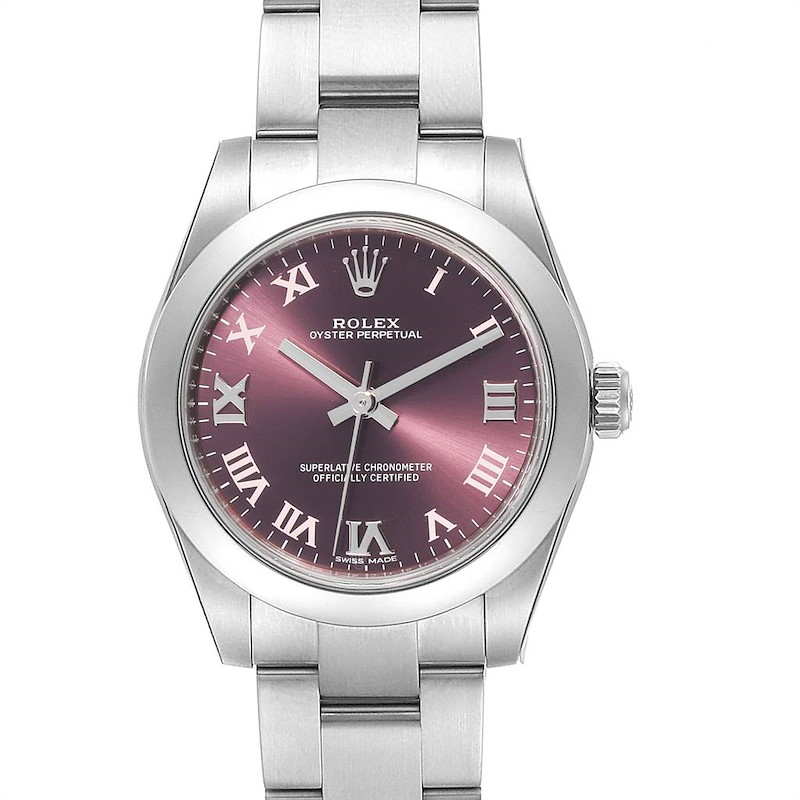 Rolex Oyster Perpetual Midsize Red Grape Dial Ladies Watch 177200 Unworn SwissWatchExpo