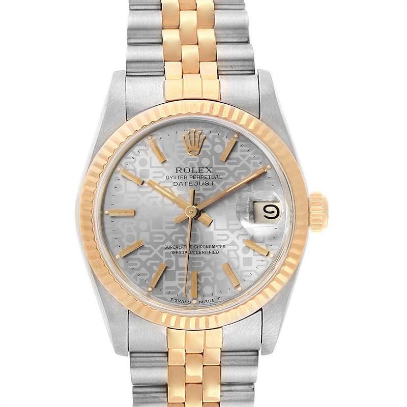Rolex Datejust Midsize Steel Yellow Gold Anniversary Dial Ladies Watch 68273 SwissWatchExpo