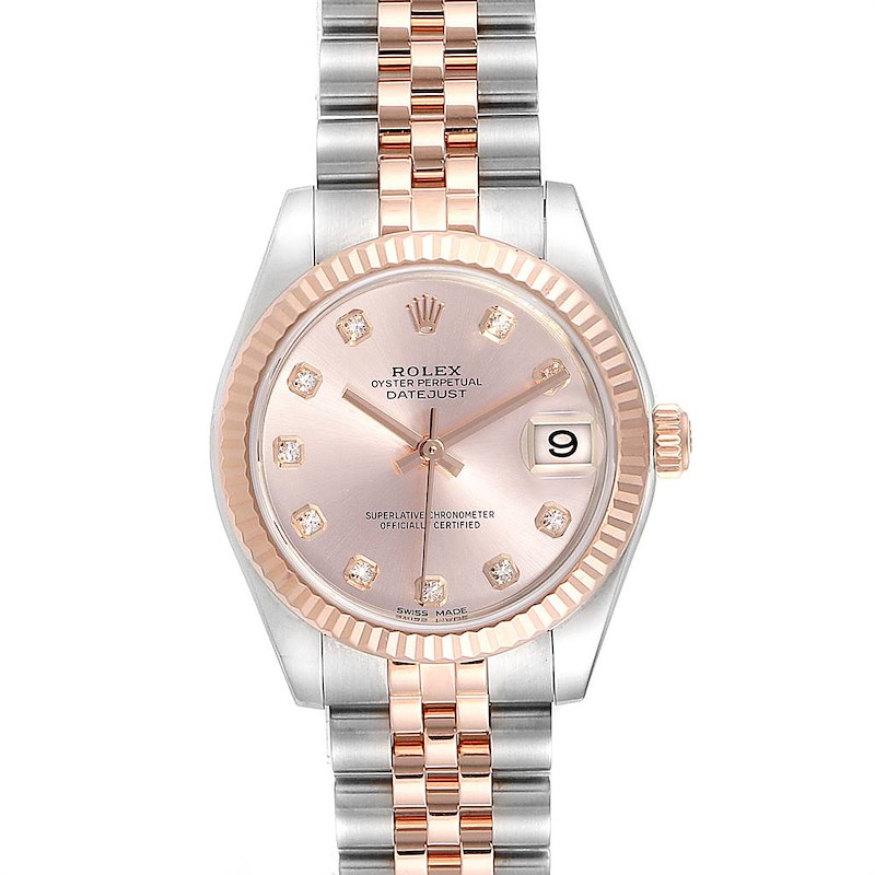 Rolex Datejust Midsize Steel EveRose Gold Diamond Ladies Watch 178271 SwissWatchExpo