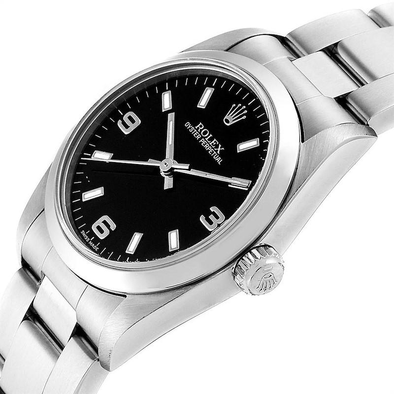 Rolex Midsize 31 Black Baton Dial Steel Ladies Watch 77080 Box Papers SwissWatchExpo