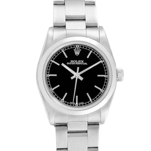 Photo of Rolex Midsize 31 Black Baton Dial Steel Ladies Watch 77080
