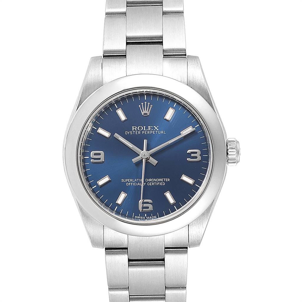 Rolex Midsize Blue Dial Steel Ladies Watch 177200 Box Card