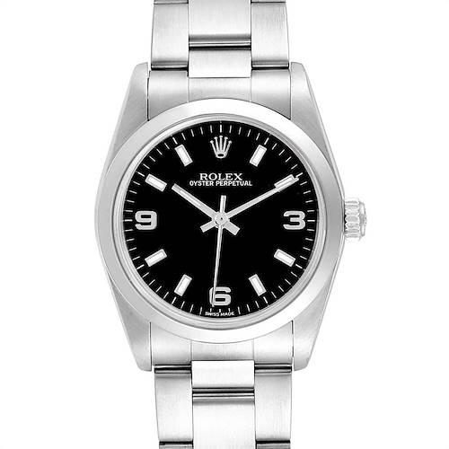 Photo of Rolex Midsize 31 Black Dial Oyster Bracelet Steel Ladies Watch 77080