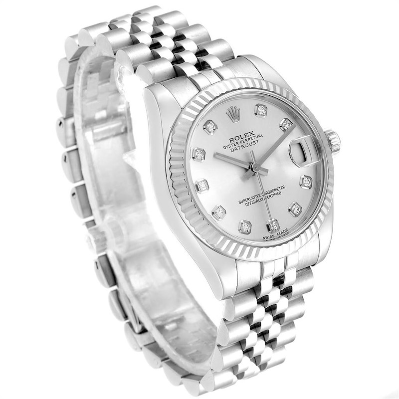 Rolex Datejust Midsize 31 Steel White Gold Diamond Ladies Watch 178274 SwissWatchExpo