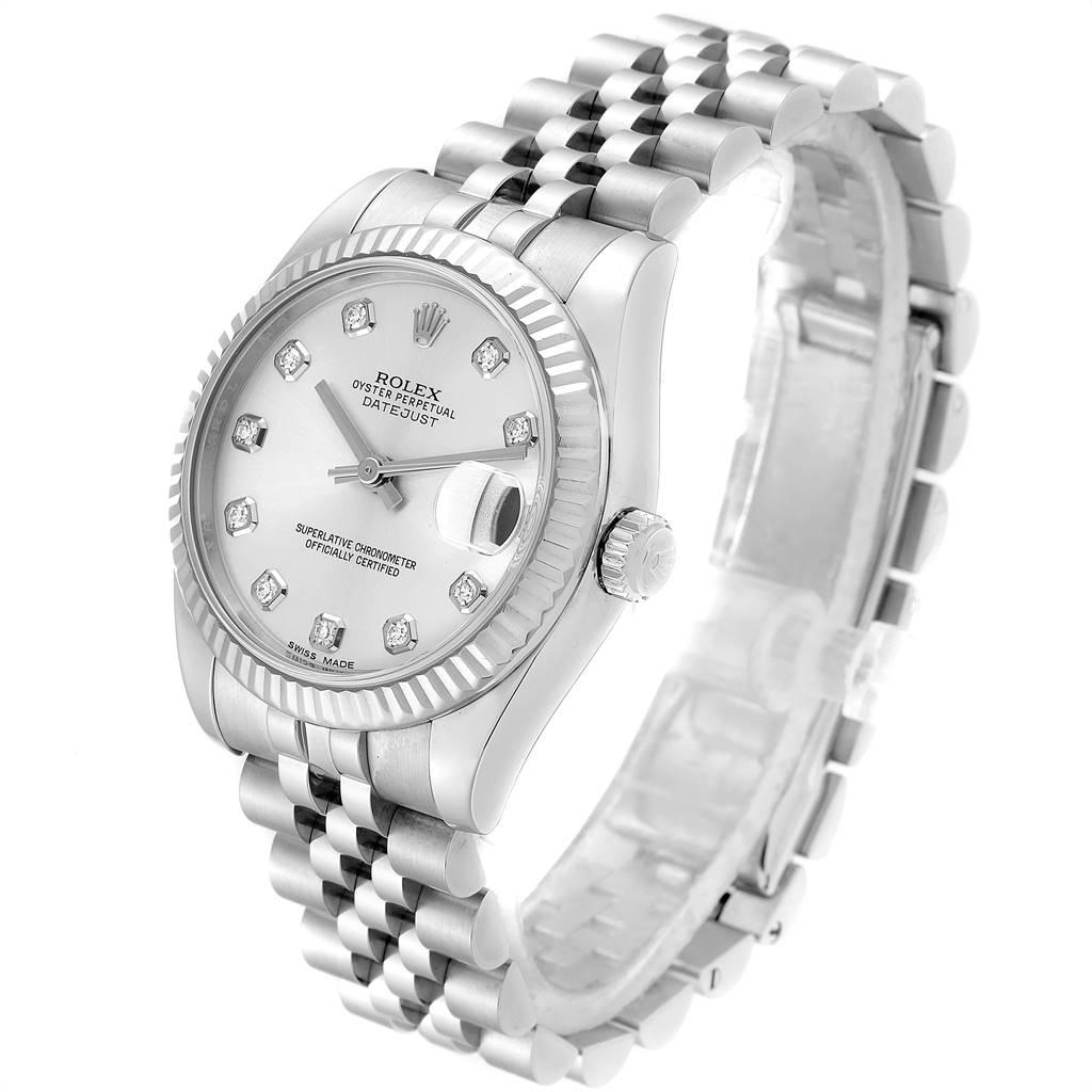 24850 Rolex Datejust Midsize 31 Steel White Gold Diamond Ladies Watch 178274 SwissWatchExpo