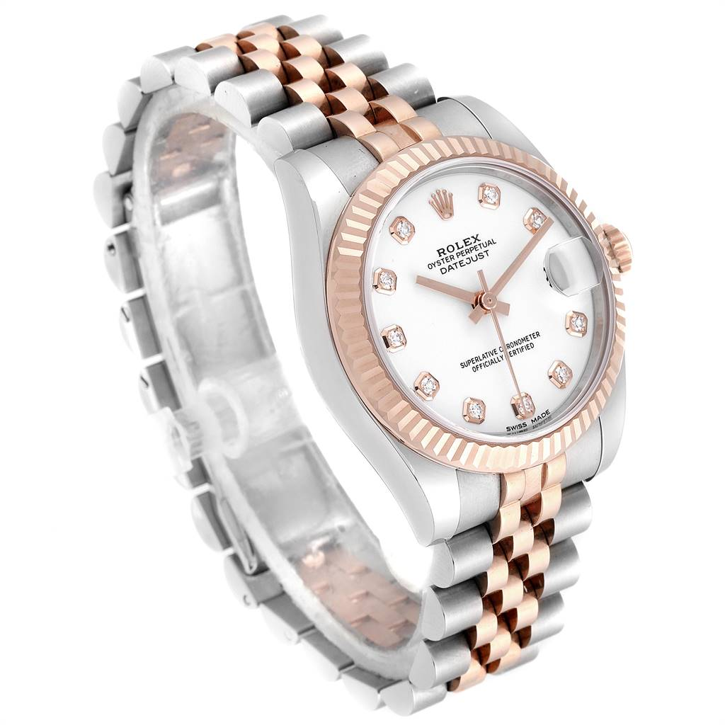 Rolex Datejust 31 Midsize Steel Rose Gold Diamond Watch 178271 Box Card | SwissWatchExpo