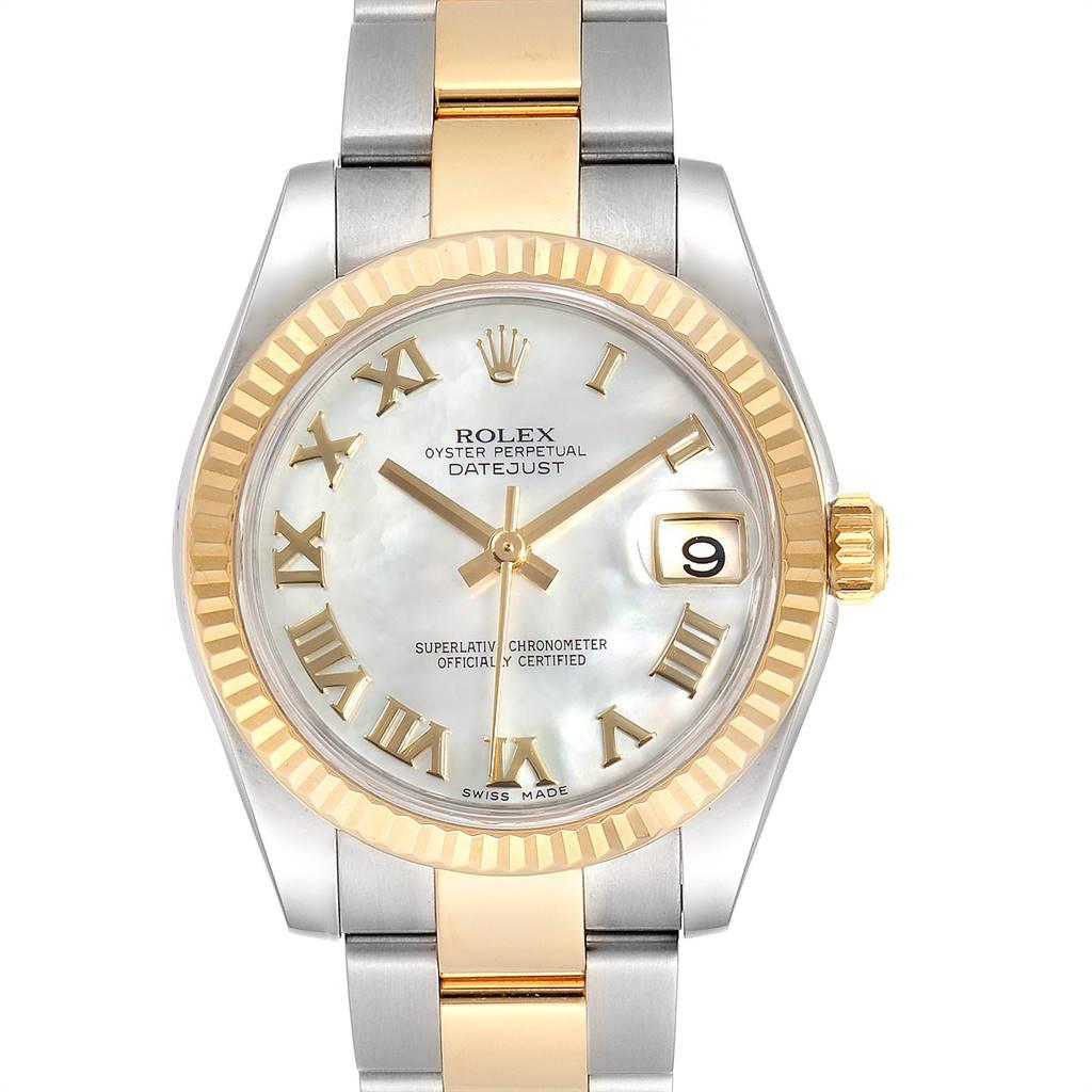 25110 Rolex Datejust Midsize 31 Steel Yellow Gold MOP Ladies Watch 178273 SwissWatchExpo