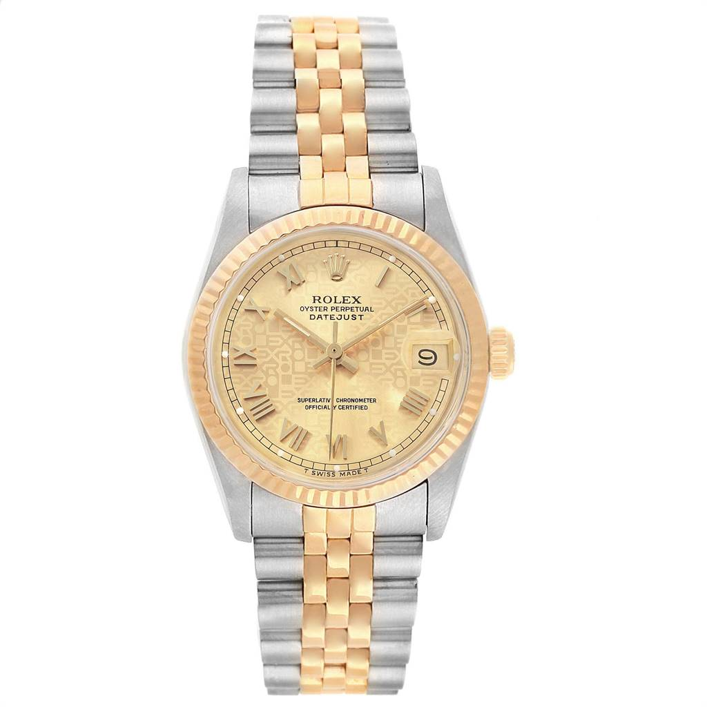 Rolex Datejust Midsize Steel Yellow Gold Anniversary Dial Ladies Watch 68273 SwissWatchExpo