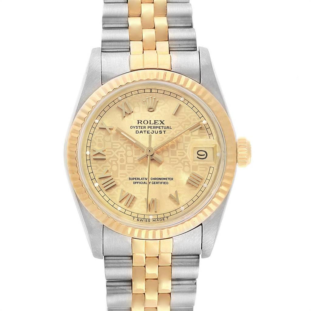 25081 Rolex Datejust Midsize Steel Yellow Gold Anniversary Dial Ladies Watch 68273 SwissWatchExpo