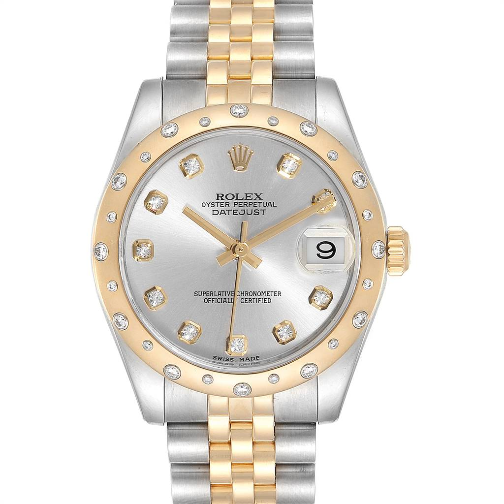 Rolex Datejust Midsize Steel Yellow Gold Diamond Ladies Watch 178343 SwissWatchExpo