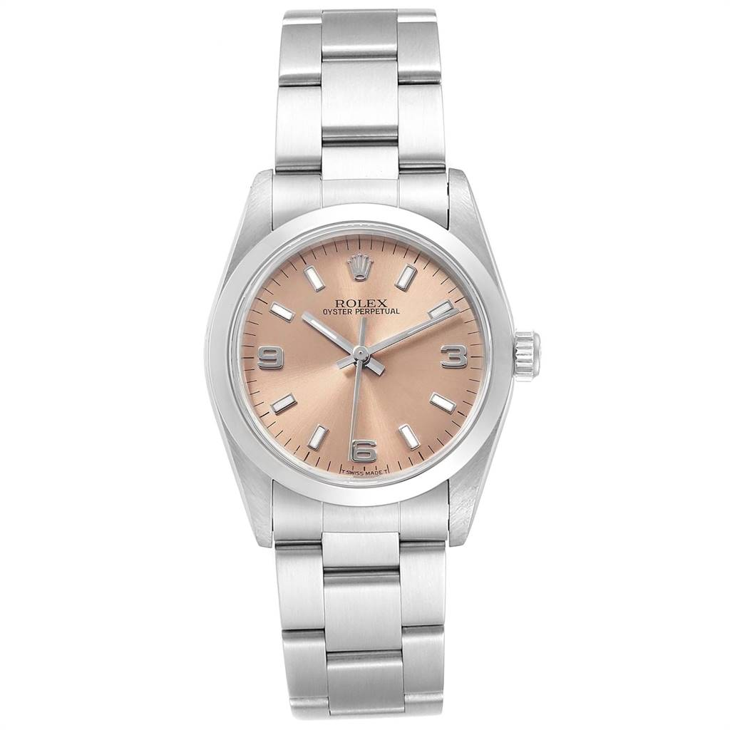 24934 Rolex Midsize 31 Salmon Dial Oyster Bracelet Ladies Watch 67480 SwissWatchExpo