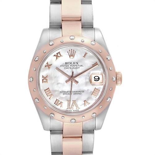 Photo of Rolex Datejust 31 Midsize Steel Everose Gold Diamond Ladies Watch 178341