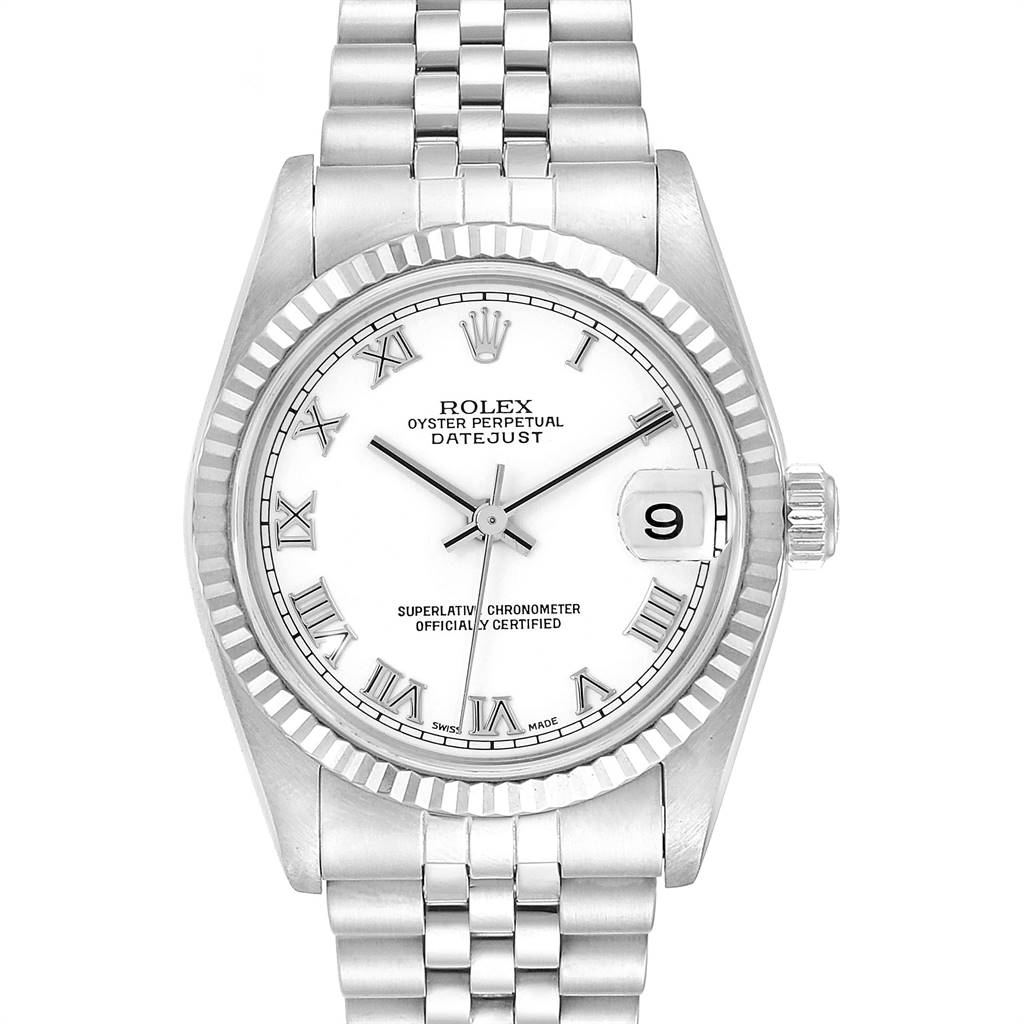 Rolex Datejust Midsize Steel White Gold White Dial Ladies Watch 78274 SwissWatchExpo