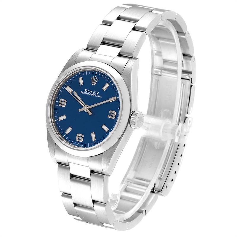 Rolex Midsize 31 Blue Dial Steel Ladies Watch 77080 Box Papers SwissWatchExpo