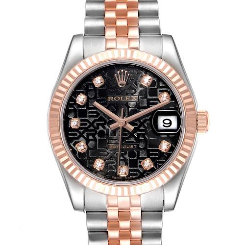 Photo of Rolex Datejust Midsize Steel Rose Gold Diamond Ladies Watch 178271 Box Papers
