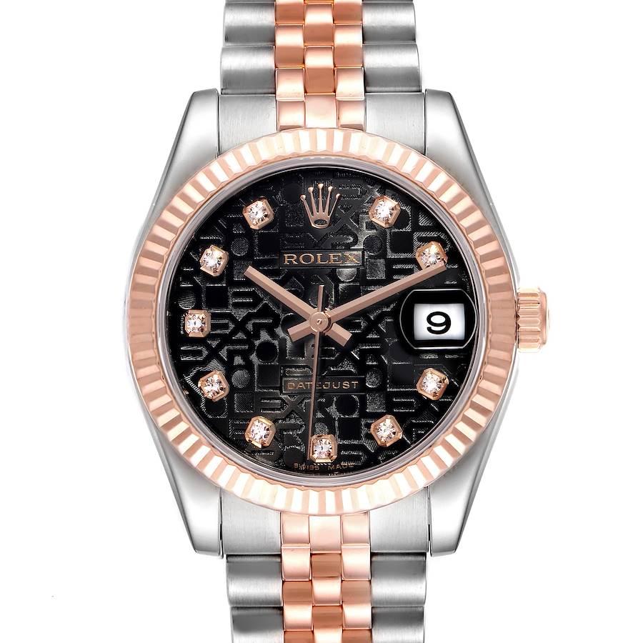 Rolex Datejust Midsize Steel Rose Gold Diamond Ladies Watch 178271 Box Papers SwissWatchExpo