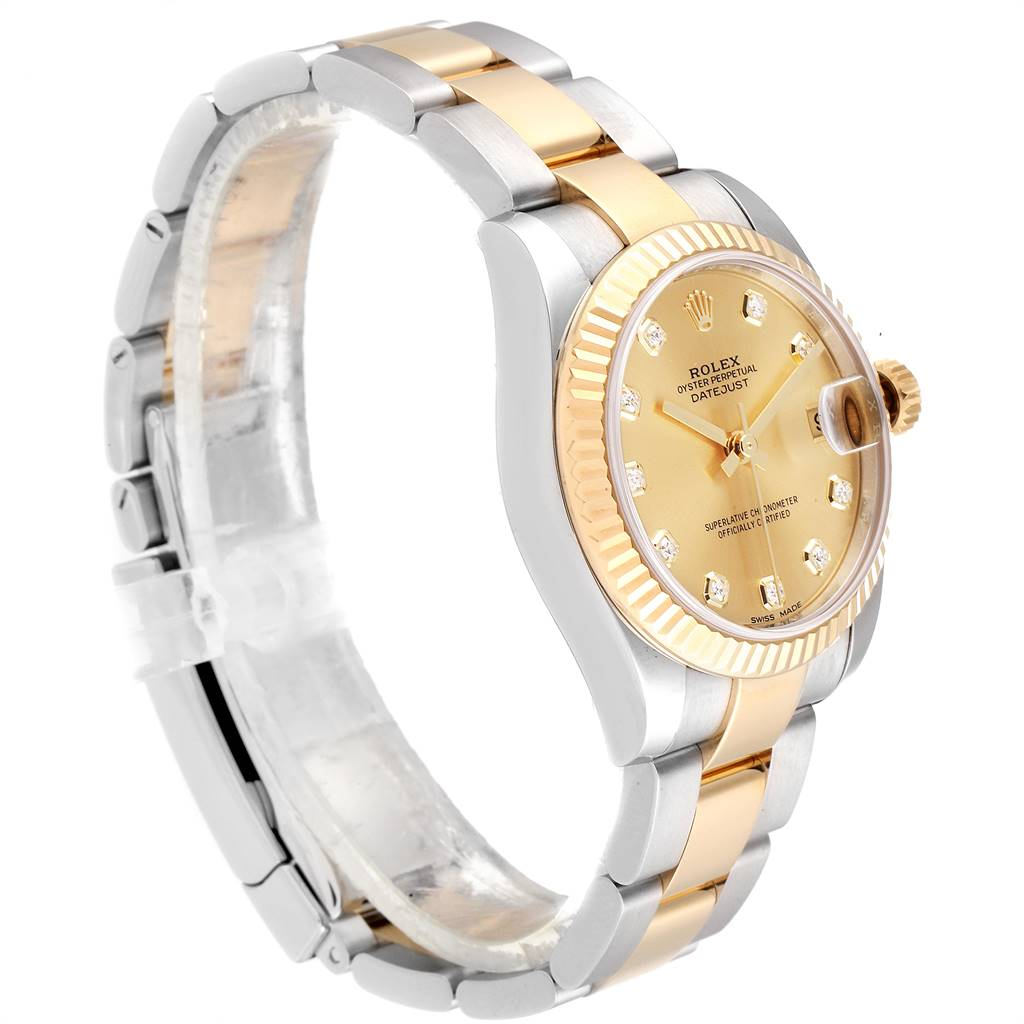 Rolex Datejust Midsize Steel Yellow Gold Diamond Ladies Watch 178273 SwissWatchExpo