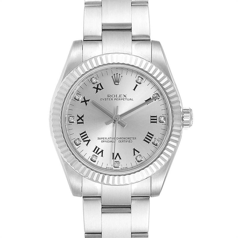 Rolex Oyster Perpetual Midsize Diamond Steel Ladies Watch 177234 SwissWatchExpo