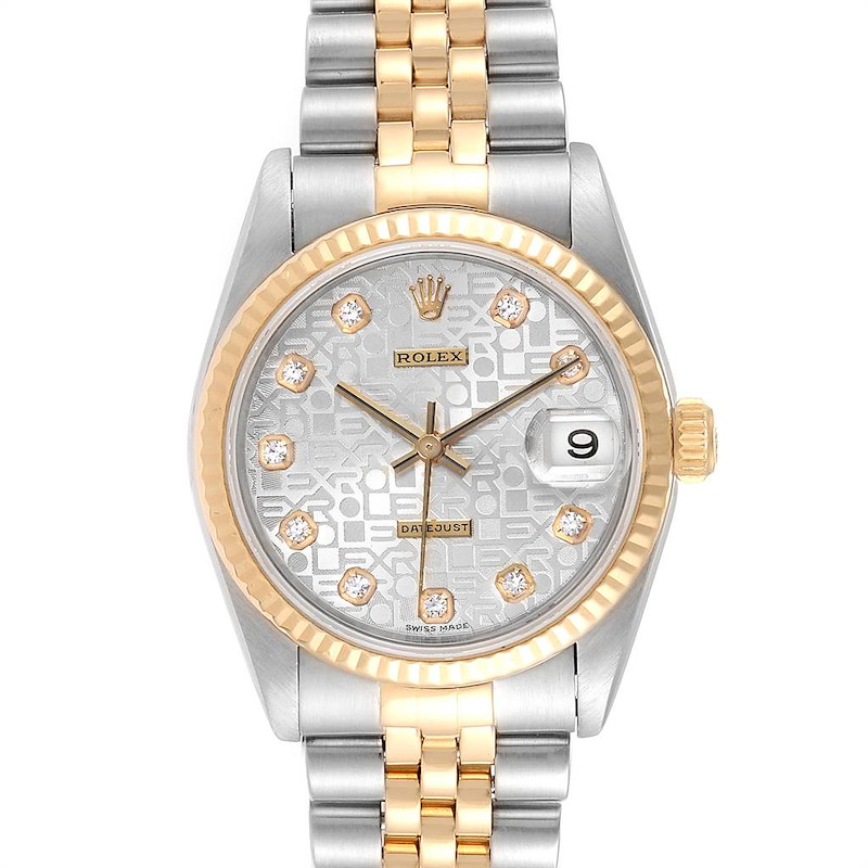 Rolex Datejust Midsize Steel Yellow Gold Diamond Ladies Watch 78273 SwissWatchExpo