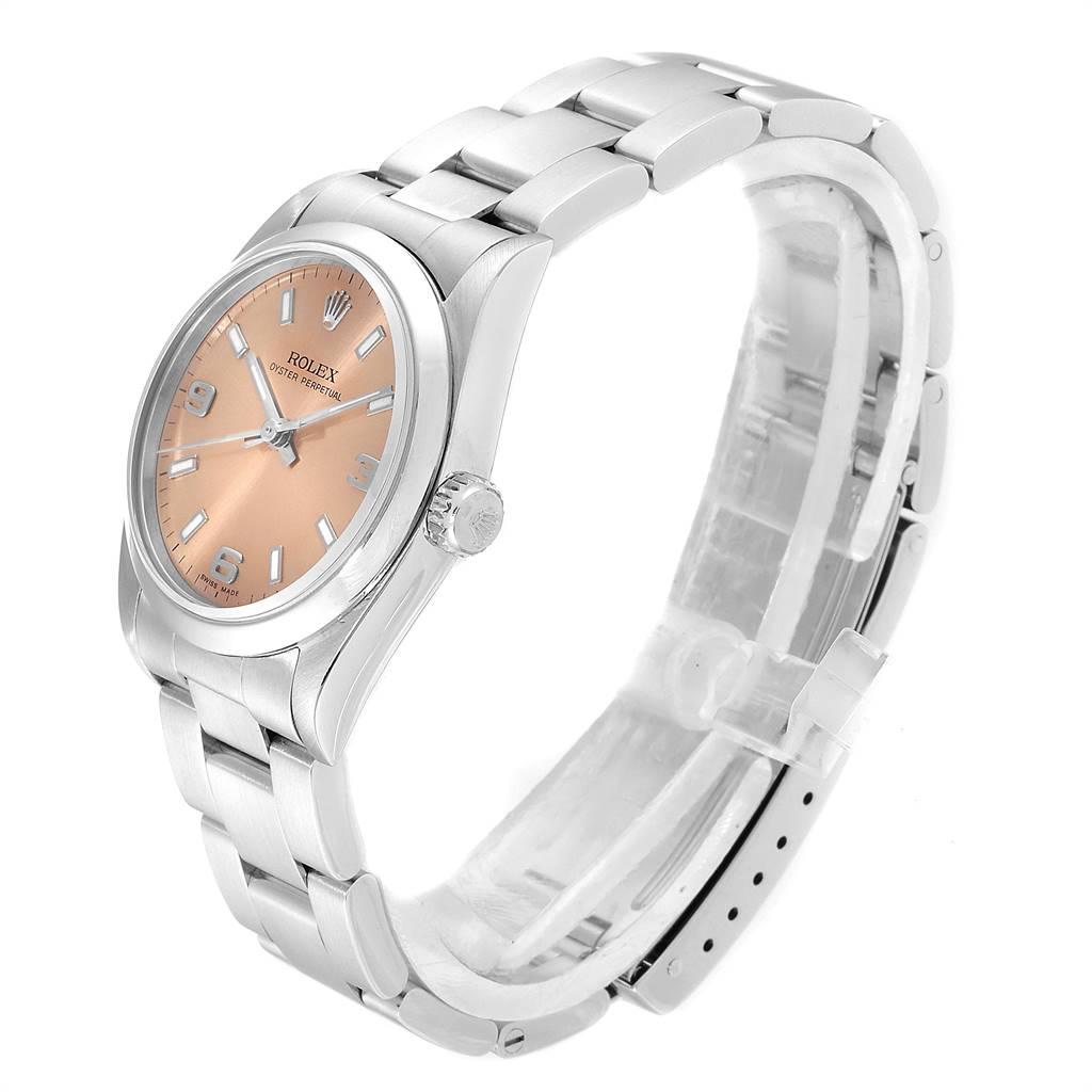 Rolex Midsize Salmon Dial Domed Bezel Steel Ladies Watch 77080 SwissWatchExpo