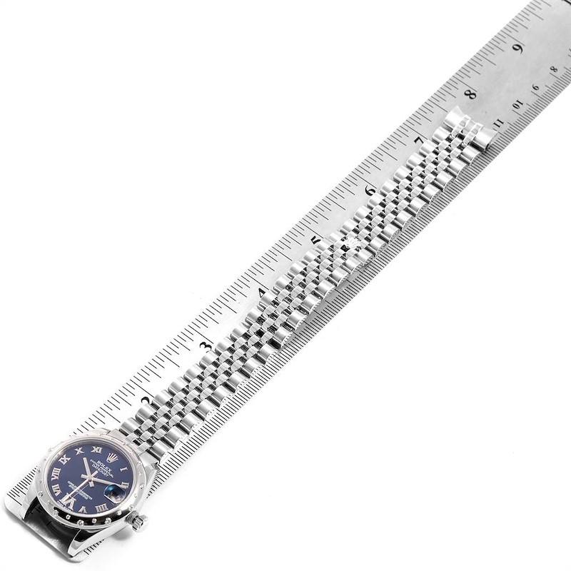 Rolex Datejust 31 Midsize Blue Dial Steel Diamond Watch 178344 Box Card SwissWatchExpo