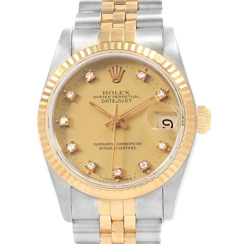 Rolex Datejust Midsize Steel Gold Diamond Ladies Watch 68273 Box Papers SwissWatchExpo