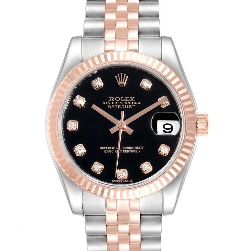 Rolex Datejust Midsize Steel Rose Gold Diamond Ladies Watch 178271 Unworn SwissWatchExpo