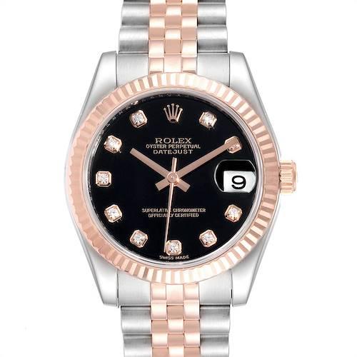Photo of Rolex Datejust Midsize Steel Rose Gold Diamond Ladies Watch 178271 Unworn
