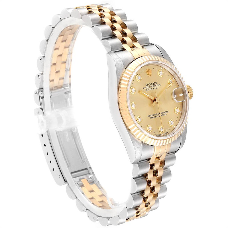 Rolex Datejust Midsize 31 Steel Yellow Gold Diamond Ladies Watch 68273 SwissWatchExpo