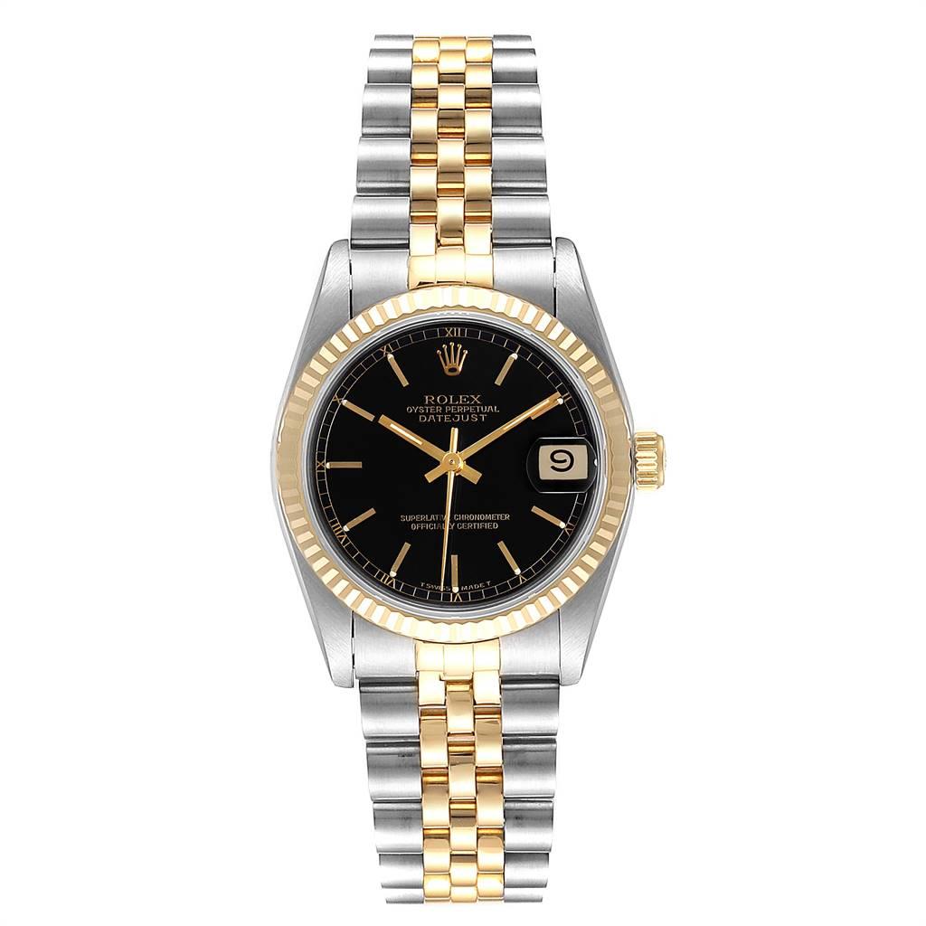 25656x Rolex Datejust Midsize Steel Yellow Gold Black Dial Ladies Watch 68273 SwissWatchExpo
