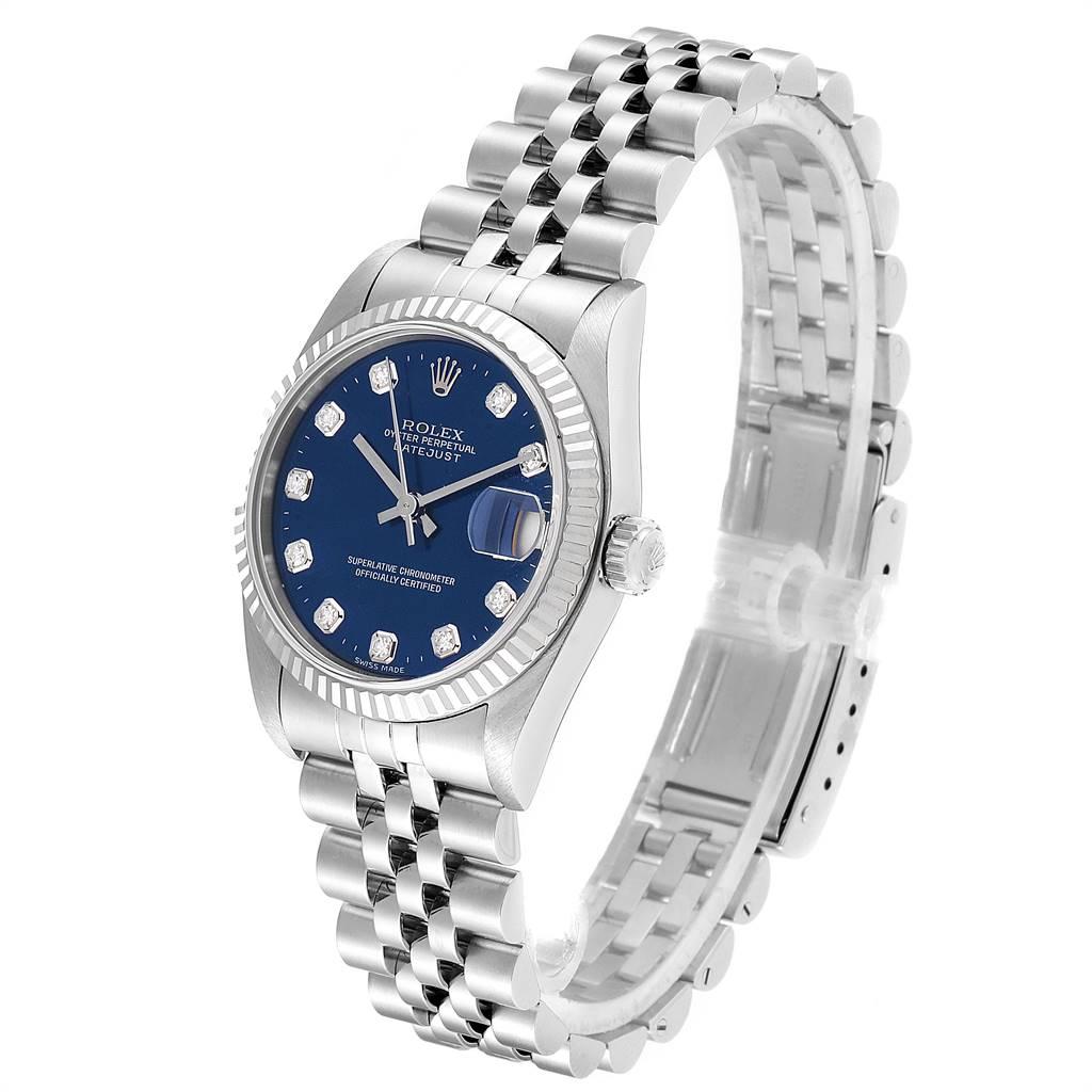 Rolex Datejust Midsize Steel White Gold Diamond Dial Ladies Watch 68274 SwissWatchExpo