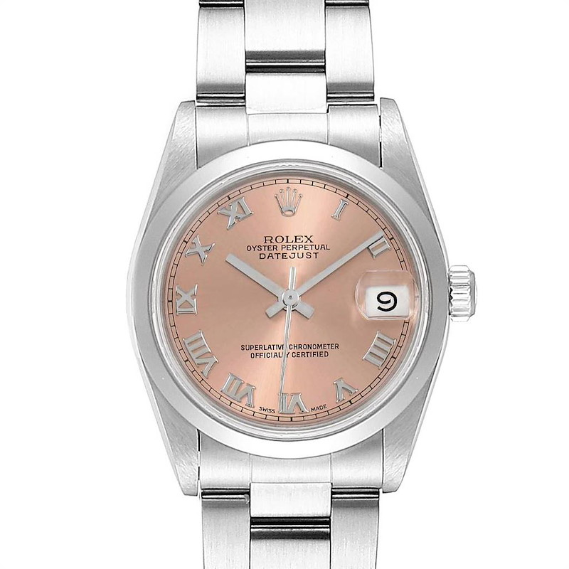 Rolex Midsize Datejust 31 Salmon Dial Ladies Steel Watch 68240 SwissWatchExpo